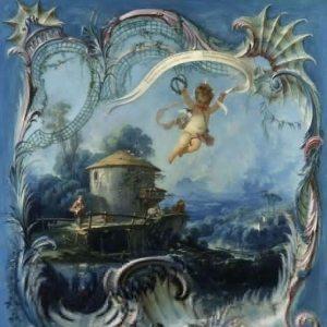Boucher, François ~ The Enchanted Home: A Pastoral Landscape Surmounted By Cupid