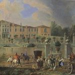 Carlevaris, Luca ~ Sunday Morning at a Villa in the Veneto, with Crowds leaving the Chapel