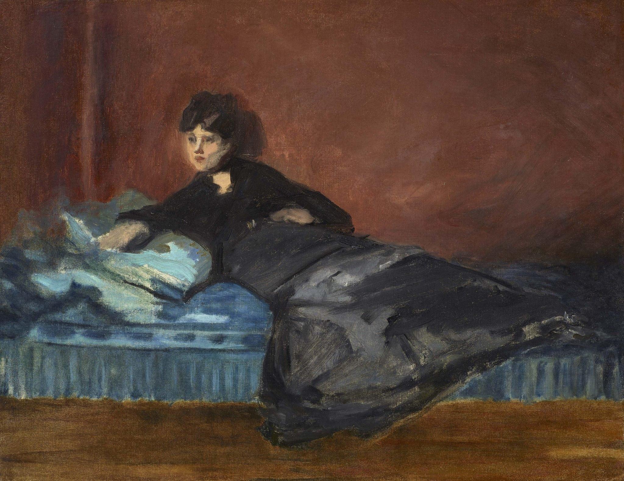 Manet, Edouard ~ Femme Allongée sur un Canapé (Portrait of Berthe Morisot)