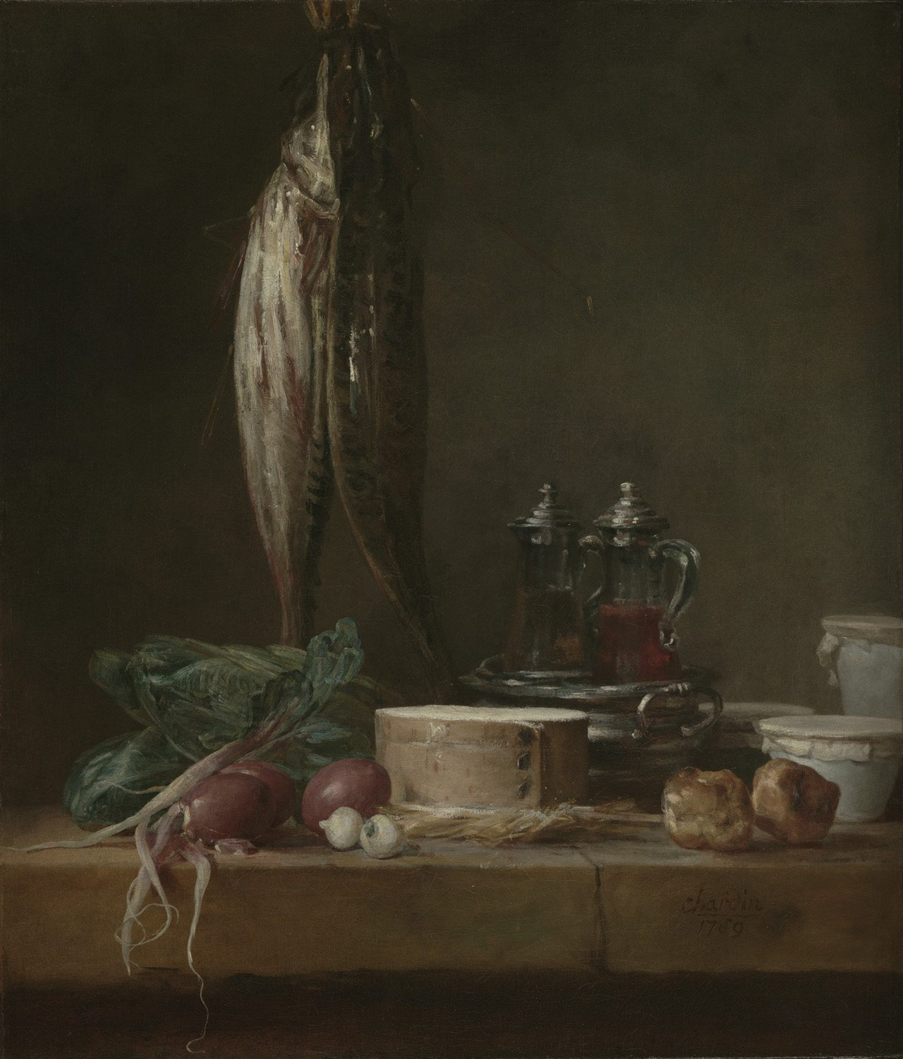 Chardin, Jean-Baptiste-Siméon ~ Still Life with Fish, Vegetables, Gougères, Pots, and Cruets on a Table