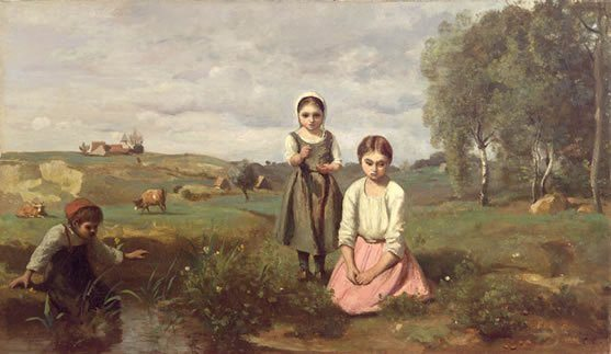Corot, Jean-Baptiste-Camille ~ Children At The Edge Of Stream In The Countryside Near Lormes