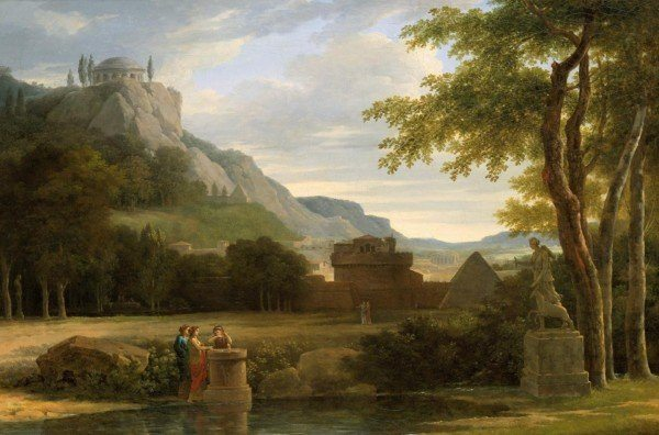 Valenciennes, Pierre Henri de ~ Classical Greek Landscape With Girls Sacrificing Their Hair To Diana On The Bank Of A River