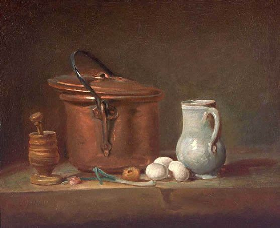 Kitchen Objects On A Shelf: A Copper Saucepan, A Pestle And Mortar, Pottery Pitcher, Scallion, Three