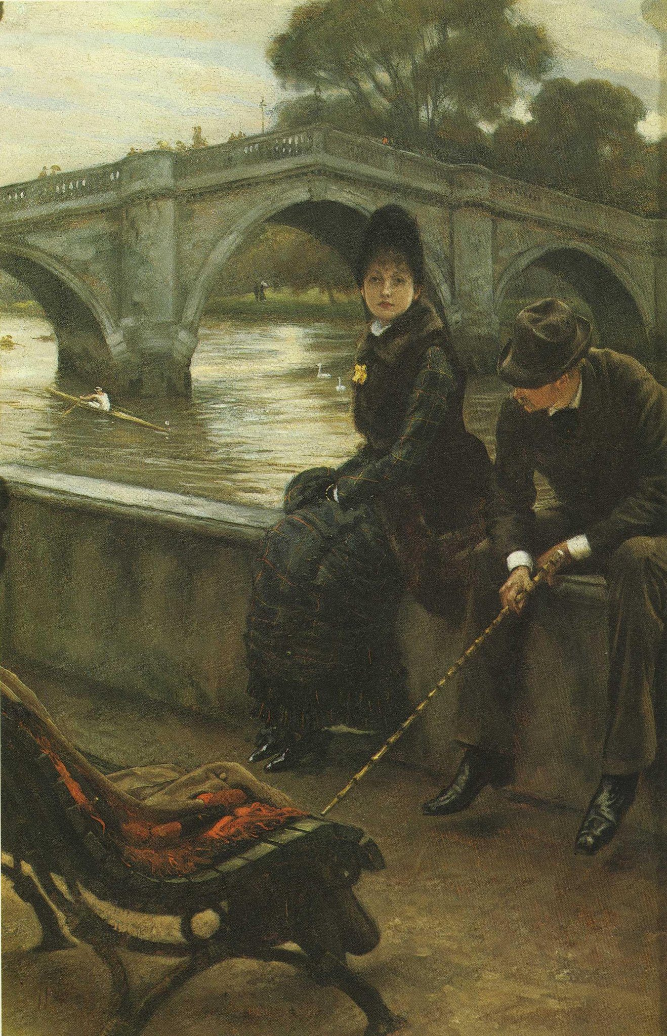 Tissot, James Jacques Joseph ~ Richmond Bridge, Tissot and Mrs. Newton