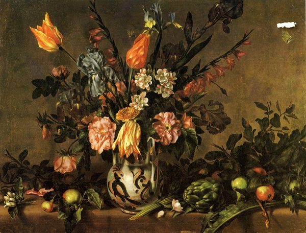 Ponce, Antonio ~ Still Life, with tulips, bearded Iris, Gladioli, Marigolds, orange Blossom, Roses, Apples, Pears, and an Artichoke in a maiolica vase
