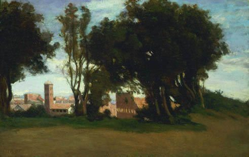 Corot, Jean-Baptiste-Camille ~ View Of The Basilica Of S. Maria Nova And The Colosseum From The Parco Del Celio, Rome