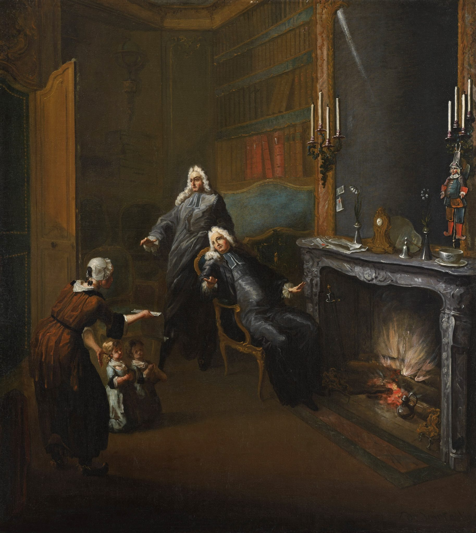 Saint-Aubin, Gabriel de ~ A Lawyer's Chambers: Two Children Presented by a Maid