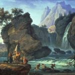 Vernet, Claude-Joseph ~ The Cascade; an alpine landscape with soldiers and fishermen