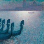 Lévy-Dhurmer, Lucien ~ Gondoles à Venise, sous un clair de lune