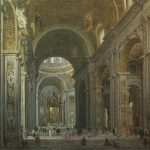 Panini, Giovanni Paolo ~ The Interior of the Basilica of Saint Peter with a Cardinal; looking towards the High Altar