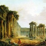 Robert, Hubert ~ A View of a Classical temple, possibly that of Jupiter Serapis at Pozzuoli near Naples