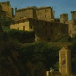 Bidauld, Jean-Joseph-Xavier ~ View of an Italian Hill Town, a shrine in the foreground with a kneeling figure