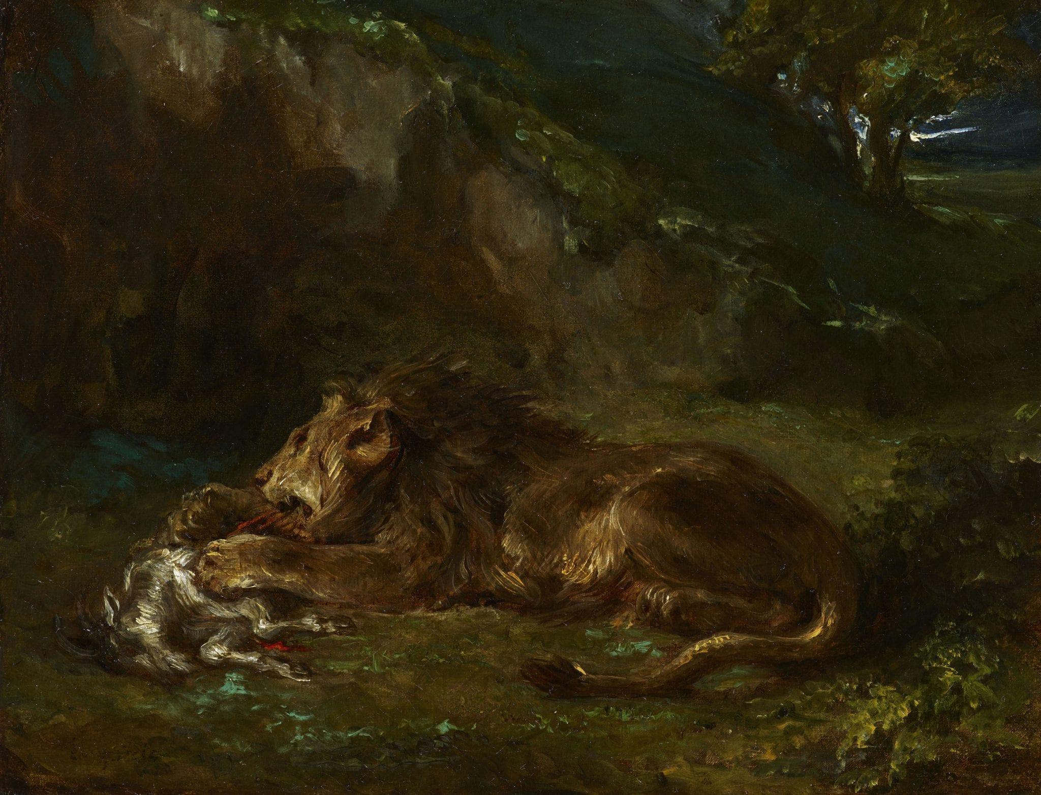 Delacroix, Eugène ~ Lion dévorant une Chèvre